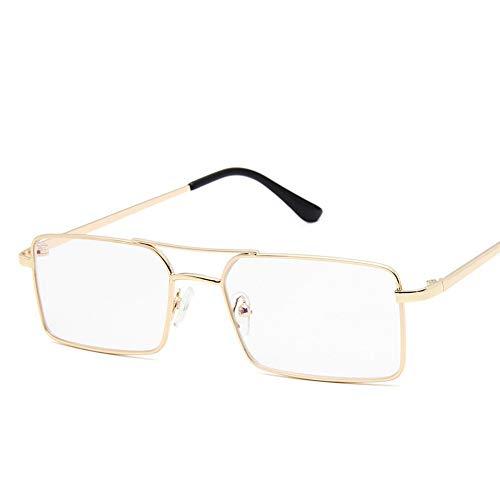 MOJINGYAN Sonnenbrille Golden Border transparente Gläser Mode Winzig schmale, rechteckige Sonnenbrille Frauen dünne kleine Sonnenbrille Vintage Brille Dame