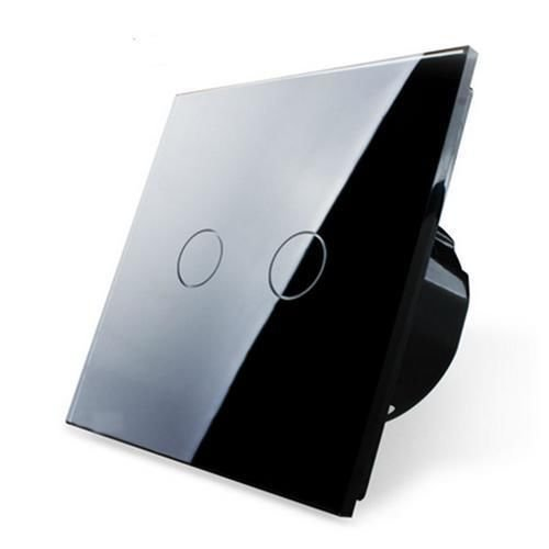 Preisvergleich Produktbild Design Glas Touch Lichtschalter 1 fach 2 Ein / Aus schwarz