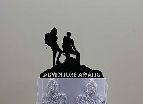 Tortenaufsatz für Wanderpaare, enthält ein männliches und weibliches Wanderabenteuer mit Spruch oder Ihren Namen oder Wandern im Freien.