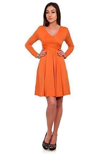 Futuro Fashion Damen Knielang Langärmeliges Jersey Skater Empire Kleid Orange