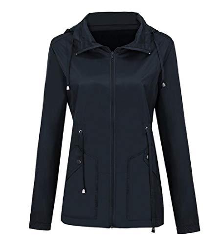 Womens Fitted Lightweight Peacoat (CuteRose Women Action Jacket Sport Waterproof Outdoor Fall Winter PEA Coat Navy Blue S)