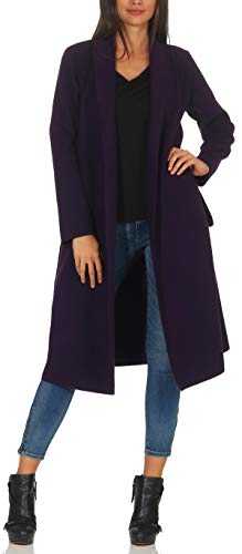 (Malito Damen Mantel lang mit Wasserfall-Schnitt   Trenchcoat mit Gürtel   weicher Dufflecoat   Parka - Jacke 3050 (lila))
