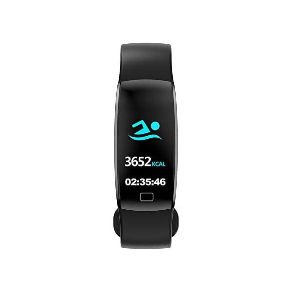 Pulsera impermeable Bluetooth 4.0fitness Tracker podómetro Monitor de ritmo cardiaco del sueño mallalah deporte reloj Smart Watch, color Negro 2