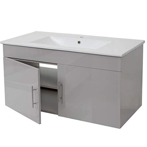 Mendler Waschbecken + Unterschrank HWC-D16, Waschbecken Waschtisch, Hochglanz 90cm ~ grau