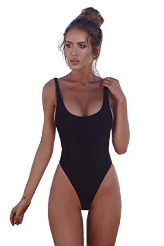 Tuopuda costume da bagno donna intero bikini set mare colore solido beachwear swimsuit (l, nero)