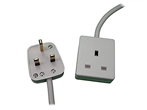 1M 1G - One Metre (1M) One Way (1 Gang) Extension Lead. WHITE Colour. 13A 240v 3KW. UK 3-Pin plug and socket - Top Quality mains electrical cable electric power cord.