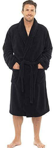 Mens Knee Length Fleece Wrapover Dressing Gown, Black, XL (Fleece Knee Warmers)