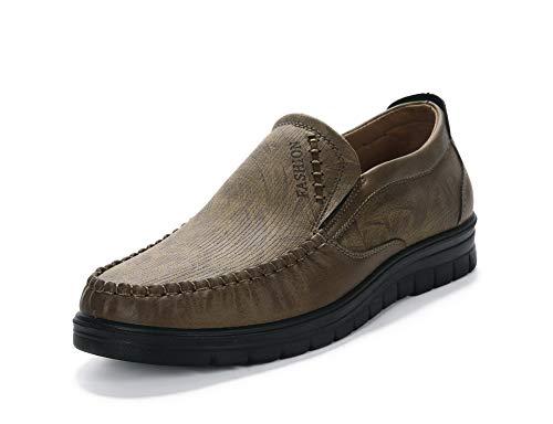 Mocassini scarpe uomo pelle guida loafers antiscivolo casuale elegante camminare matrimonio pantofole(giallo,47 eu,28.5cm dal tallone alla punta