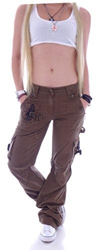 Damen Cargohose Stoffhose Cargo Hose Hüfthose Jeans XS 34 S 36 M 38 L 40 XL 42 XXL 44 (XXL 44, Khaki) (M 38, Braun)