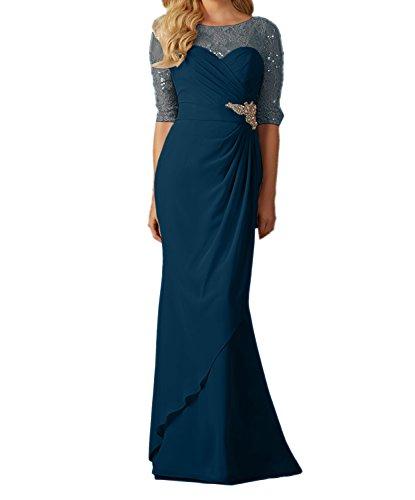 Charmant Damen Dunkel Blau Langes Abendkleider Ballkleider Brautmutterkleider Schmaler Schnitt Rock Tinte Blau