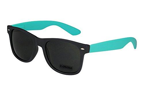 X-CRUZE® 8-069 X 22 Nerd Sonnenbrille Style Stil Retro Vintage Retro Unisex Herren Damen Männer Frauen Brille Nerdbrille - Schwarz Matt/Türkis Matt