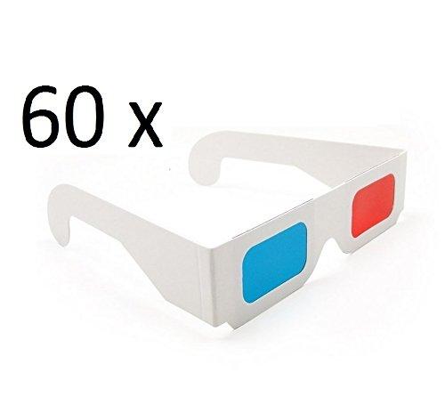 2a5ed5720e DARLINGTON & Sohns 60 Pieza 3D Gafas de cartón Fácil Gafas 3D Paquete  Grande Rojo Azul