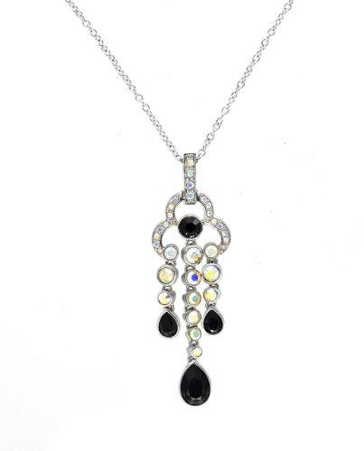 Cristalina Damen Halskette Swarovski-Kristalle Tropfenform Schwarz / mehrfarbig 6-51cm