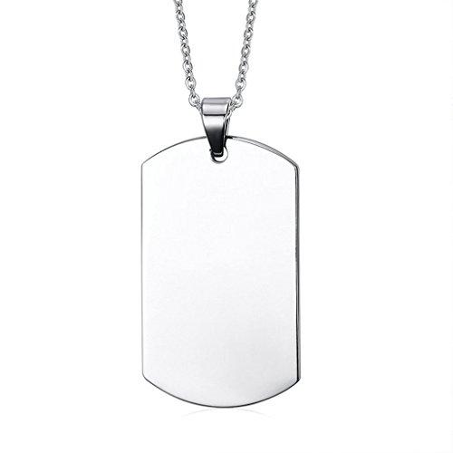 Daesar Joyería Acero Inoxidable Colgante Collar Hombre Placa de Militar Dog Tag ID Pendant Cadena 45mm