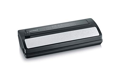 SEVERIN Vakuumiergerät mit integriertem Cutter (Inkl. 1 Rolle Vakuumierfolie, 5 Vakuumierbeutel, 1 Anschlussschlauch, Schweißnaht B: 30 cm) schwarz, FS 3611