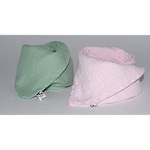 2 Musselin Dreieckstücher/Halstuch/Spucktuch Musselin für Baby oder Kleinkind/bordeaux blau