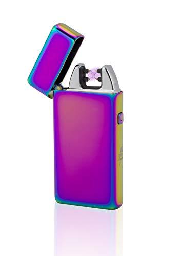 TESLA Lighter T05 | Lichtbogen Feuerzeug, Plasma Double-Arc, elektronisch wiederaufladbar, aufladbar mit Strom per USB, ohne Gas und Benzin, mit Ladekabel, in Edler Geschenkverpackung, Regenbogen