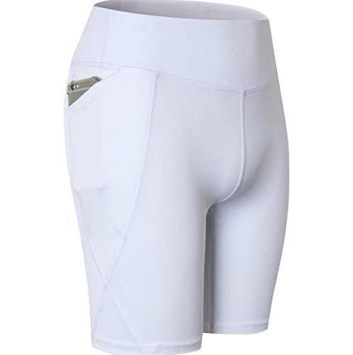 PFSYR Hohe Taillen-Shorts für Frauen Yoga-Seitentaschen-Shorts Laufende, schnell trocknende Strumpfhose Feuchtigkeitstransportierende Stretch-Shorts (Farbe : Weiß, größe : M) -