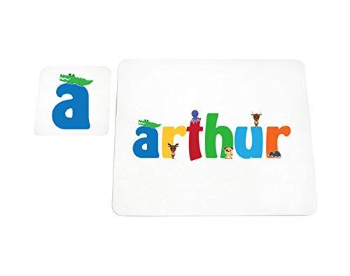 Little Helper Arthur de Coast erandpl acemat de 15de personnalisée, fille nom et dessous de 4 sets de table avec finition brillant