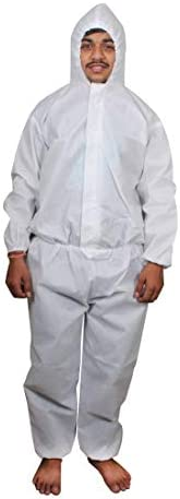 VOUCH Polyester White Disposable Coverall Hooded Body Suit with Elastic Cuff - Pack of 2