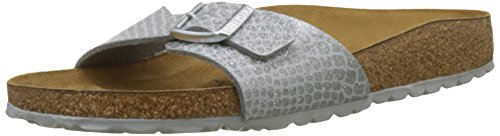 footprints birkenstock BIRKENSTOCK Damen Madrid Pantoletten, Silber (Noir Magic Snake Silver), 38 EU