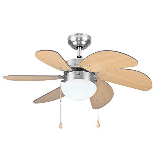 Cecotec Ventilador de Techo ForceSilence Aero 350. 81 cm de Diámetro, Luz, 6 Aspas Reversibles, 3 Velocidades...
