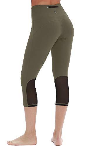 icyzone Damen Sport Mesh Leggings - 3/4 Sporthose kurz Training Tights Fitness Capri Yoga Pants (S, Olive) -