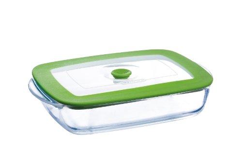 rm, rechteckig, 28 x 20 x 5 cm, 1,5 l, Deckel mit Dampfloch, Glas/Plastik ()