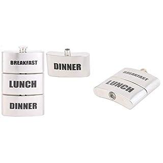3 Fach Flachmann, Frühstück, Mittagessen, Abendessen, Vesper, Triple Hip Flask