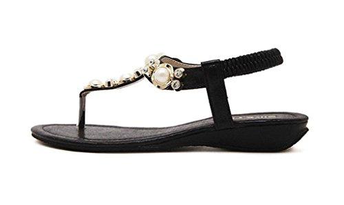 Minetom Femme Fille Perlé Chaussures de plage de Bohême-T Sangle Tongs Mode Été Des Sandales Noir