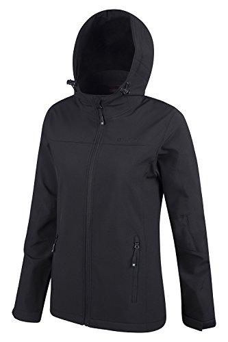 Mountain Warehouse Exodus Wasserbeständige Softshelljacke für Damen - Atmungsaktiver Damenmantel, abgerundete Rückenpartie - Regenmantel für den Alltag und kaltes Wetter Schwarz DE 34 (EU 36) - 4