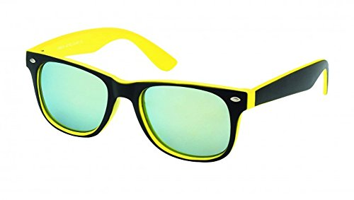 Chic-Net Sonnenbrille Wayfarer Nerdbrille verspiegelt 400UV außen schwarz innen farbig gelb