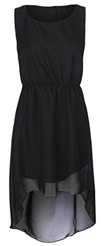 Der neuen Frauen Chiffon Dip Hem Maxi Kleid High Low Kleid 36-42 Black