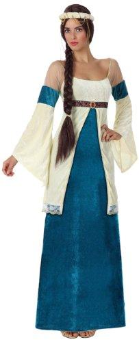 Este disfraz para adulto es de mujer medieval. Incluye vestido y diadema (zapatos no incluidos).El vestido tiene efecto terciopelo y tiene mangas largas y anchas. La parte superior de la camiseta es de rejilla. El pecho tiene una cinta negra y brilla...