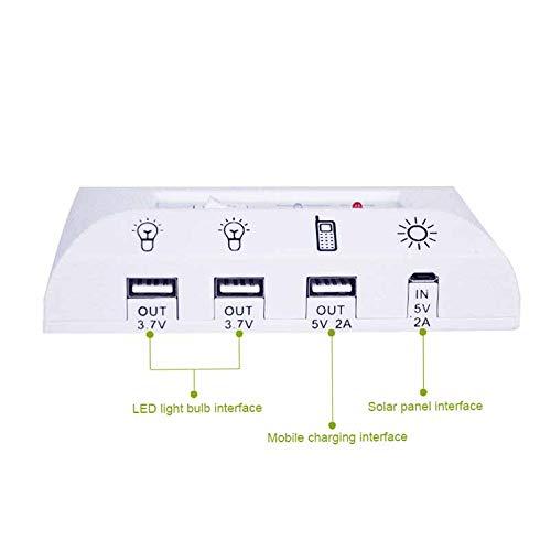 Alaojie Tragbare Solar Panel Energy Kit mit 2 Lampen Nachtlicht Kit für Indoor-Notfall Outdoor Wandern Camping Zelt Angeln