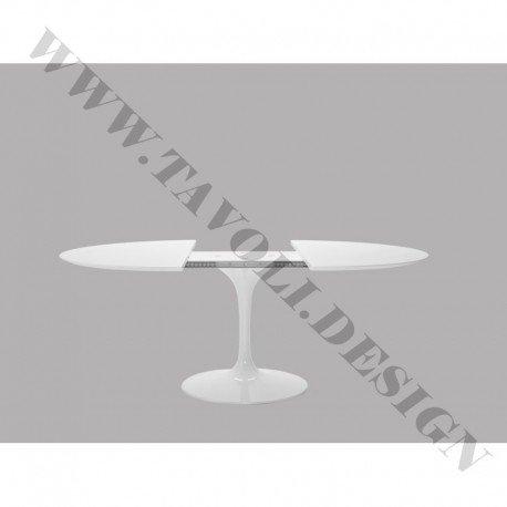 Tavoli.Design Tulip Tisch Eero Saarinen Ausziehbar Durchm 137cm Laminat Flüssigkeit weiß Base weiß -