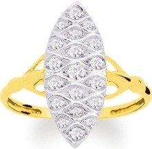 Blanc et or - Femme - Bague Or Marquise Diamants - Référence : 1.778.32 - Taille 54 Modifiable