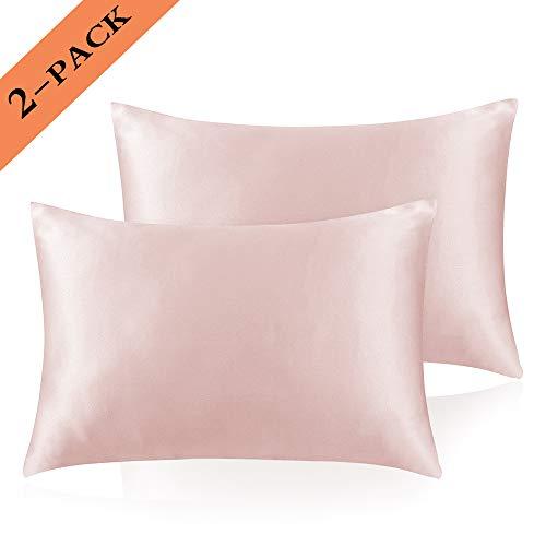 Ravmix Seiden-Satin-Kissenbezüge, 2 Stück, für Haar und Haut, Umschläge, hypoallergen, Anti-Falten-Effekt, super weich, glatt, maschinenwaschbar Queen Size(20×30'') Rose pink -