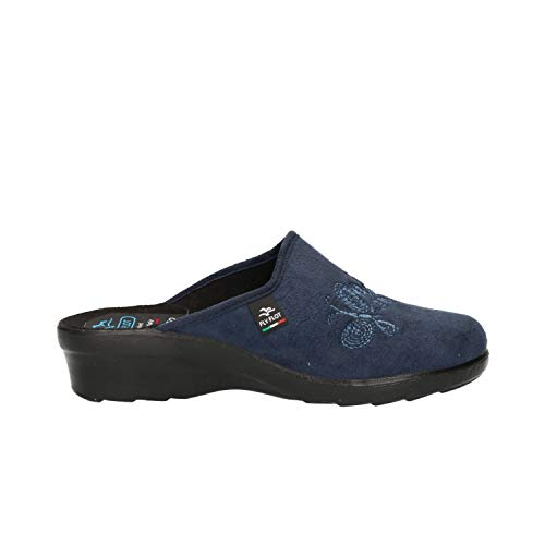 Fly Flot L7N76 WD Blu Ciabatte Donna Made in Italy Zeppa 4 CM Lavabile in  Lavatr f3c4a5caff2