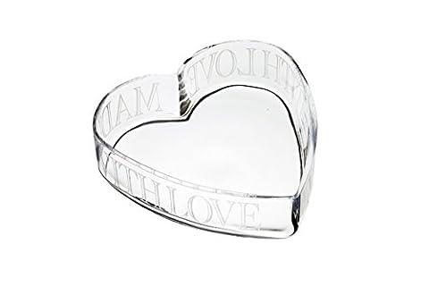 KitchenCraft MasterClass artesà mit Liebe gemacht Glas geätzt Herz Schale, transparent, 24x (Herz Glas Teelicht)