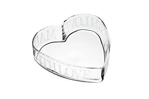 Kitchen Craft MasterClass artesà mit Liebe gemacht Glas geätzt Herz Schale, transparent, 24x 23cm -