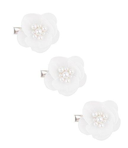 SIX Haarschmuck: Brautschmuck für Hochsteckfrisuren, im 3er-Set, Tüll-Blüten mit Perlen, fester Halt, für jedes Haar geeignet, 3.5 cm, weiß (24-604)
