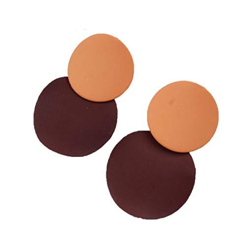 Fliyeong Premium Qualität Frauen Geometrische Runde Ohrstecker Mode Charme Colorblock Design Kreis Ohrringe Schmuck Geschenk Colorblock-parka