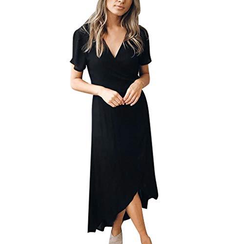 LINSINCH Maternity Dress Women Fashion Short Sleeve V Neck Summer Nursing Black S -
