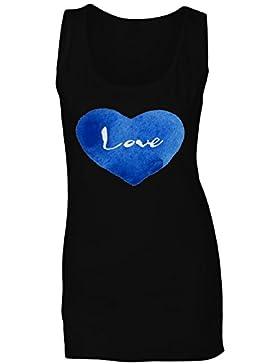 Love Blue Heart Novedad camiseta sin mangas mujer p16ft