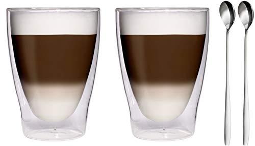 Action : 280 x 2 ml 2 verres double paroi en acier inoxydable 18/10-cuillères à latte macchiato, verres/verres à thé/bormioli et verres à eau - 2 x 280 ml élégante feelino, 2 x 280 ml
