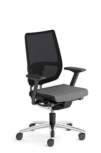 Sedus Stoll Swing up-Stuhl Büro Bewegung Similar Swing Lendenwirbelstütze Verstellbaren Armlehnen-Stoff grau, Rückenlehne Membran schwarz