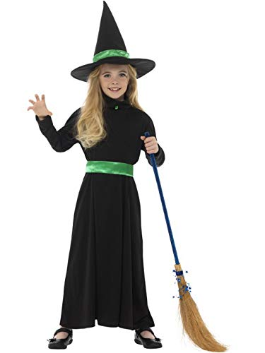 erdbeerclown - Mädchen Kinder Kostüm böse Hexe Zauberin Magierin Kleid Gürtel und Hut, Wicked Witch Deress Belt and Hat, perfekt für Halloween Karneval und Fasching, 140-152, Schwarz