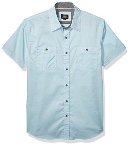 Lee Herren Short Sleeve Dress Shirt Camp Regular Big Tall Button Down Hemd, Isiah Dream Blue, X-Groß -