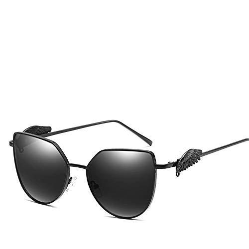 Sonnenbrillen, Flügel, Metall, Sonnenbrillen, UV400 polarisierte Sonnenbrillen für Herren / Damen - Praktisch über Brillengläsern, ideal für Autofahren und für den Außenbereich, Schwarz 2